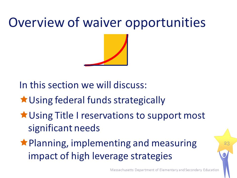Massachusetts Department of Elementary and Secondary Education 23 In this section we will discuss:  Using federal funds strategically  Using Title I reservations to support most significant needs  Planning, implementing and measuring impact of high leverage strategies Overview of waiver opportunities