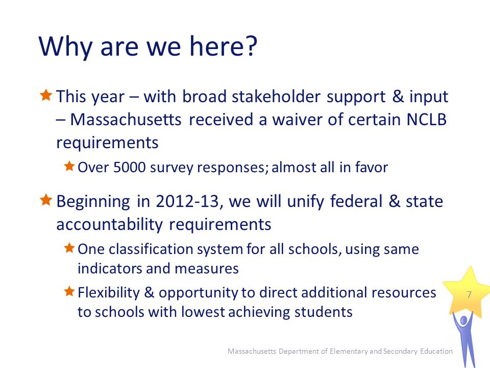 High leverage strategies… Massachusetts Department of Elementary and Secondary Education 28  target your lowest achieving students in your lowest performing schools  aggressively address school performance & student achievement  are close to the instructional core, e.g.:  Regular structures/systems for collecting & analyzing data that directly informs instructional practice  Frequent teacher teaming & teacher-specific coaching linked to instructional practice  Responsive systems of tiered instruction, especially Tiered II & Tier III interventions  are monitored for efficacy & impact