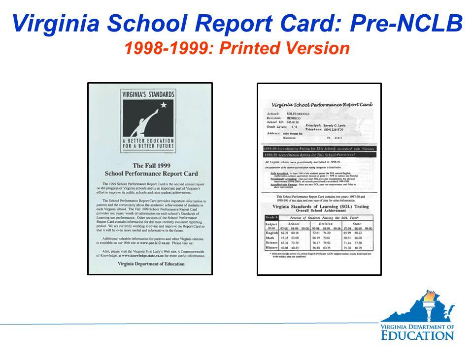 Virginia School Report Card: Post-NCLB Fall Membership