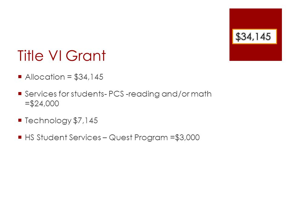 Title VI Grant  Allocation = $34,145  Services for students- PCS -reading and/or math =$24,000  Technology $7,145  HS Student Services – Quest Program =$3,000