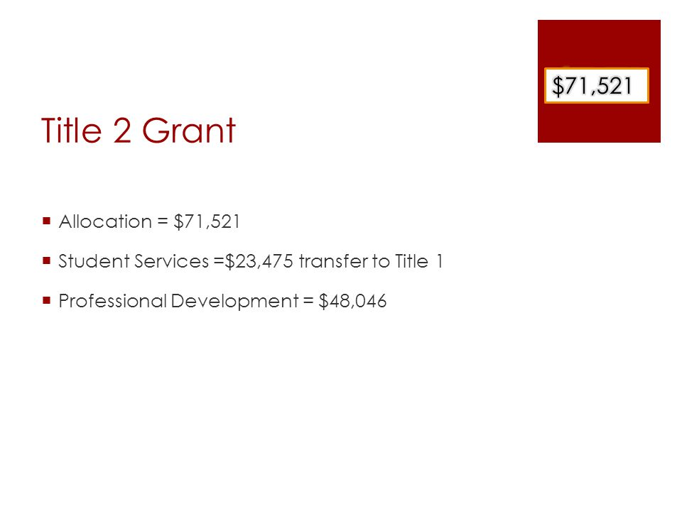 Title 2 Grant  Professional Development  Administration = $4,600  Conferences/Book Studies  Teachers = $43,446  Improving Instruction –outside experts -conferences or workshops for teachers = $ 20,446  Study Groups = in-district experts = $23,000