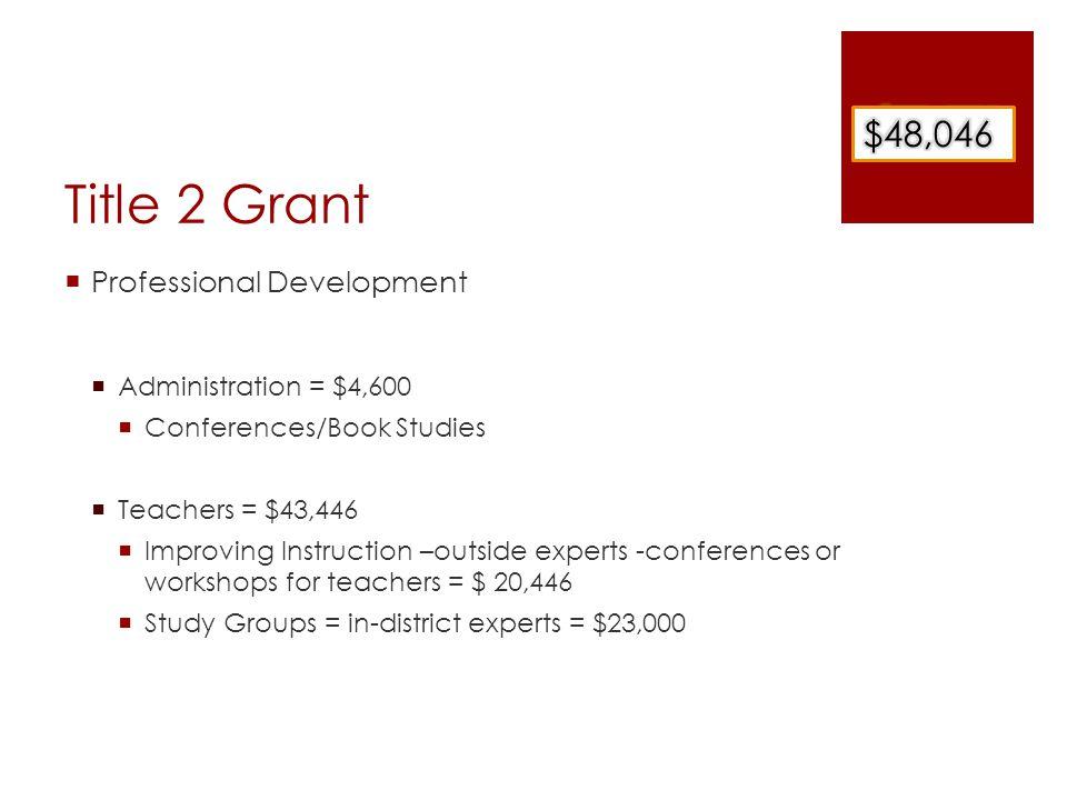 Title 2 Grant  Professional Development  Administration = $4,600  Conferences/Book Studies  Teachers = $43,446  Improving Instruction –outside ex