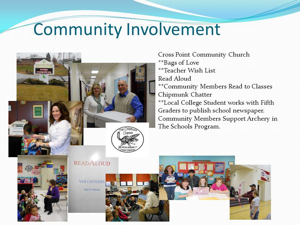 Community Involvement Cross Point Community Church **Bags of Love **Teacher Wish List Read Aloud **Community Members Read to Classes Chipmunk Chatter