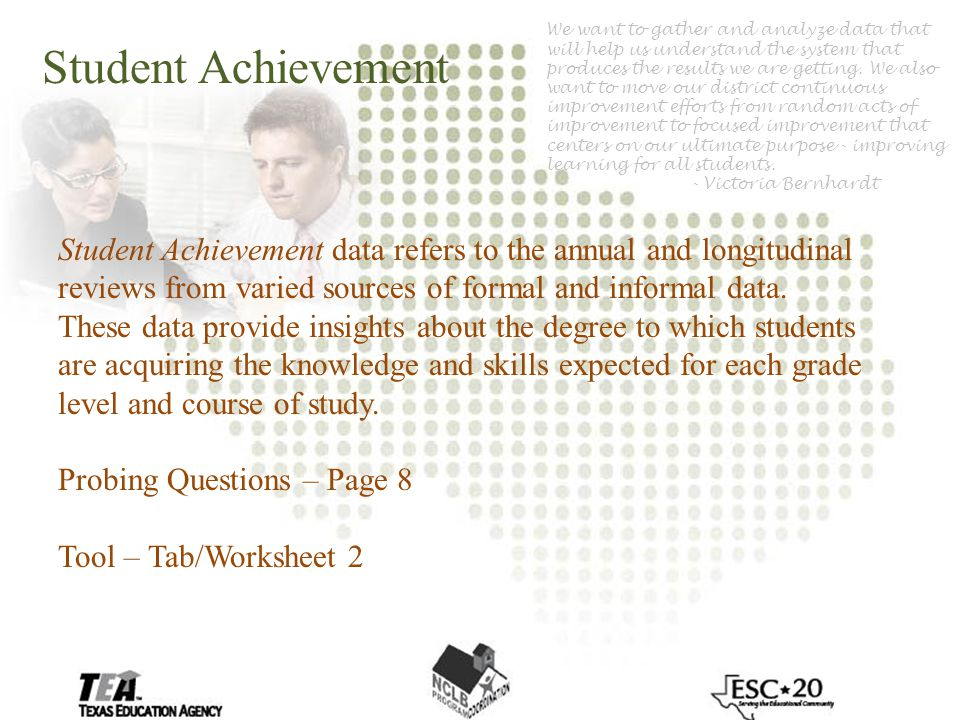 Student Achievement Student Achievement data refers to the annual and longitudinal reviews from varied sources of formal and informal data.