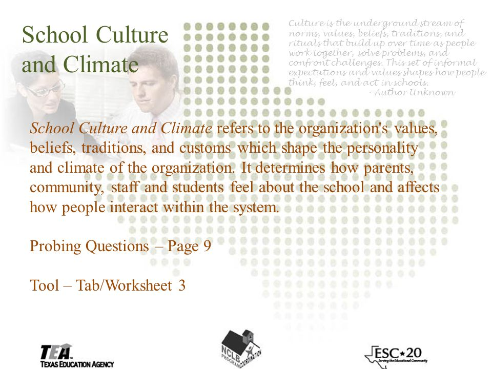 School Culture and Climate School Culture and Climate refers to the organization s values, beliefs, traditions, and customs which shape the personality and climate of the organization.