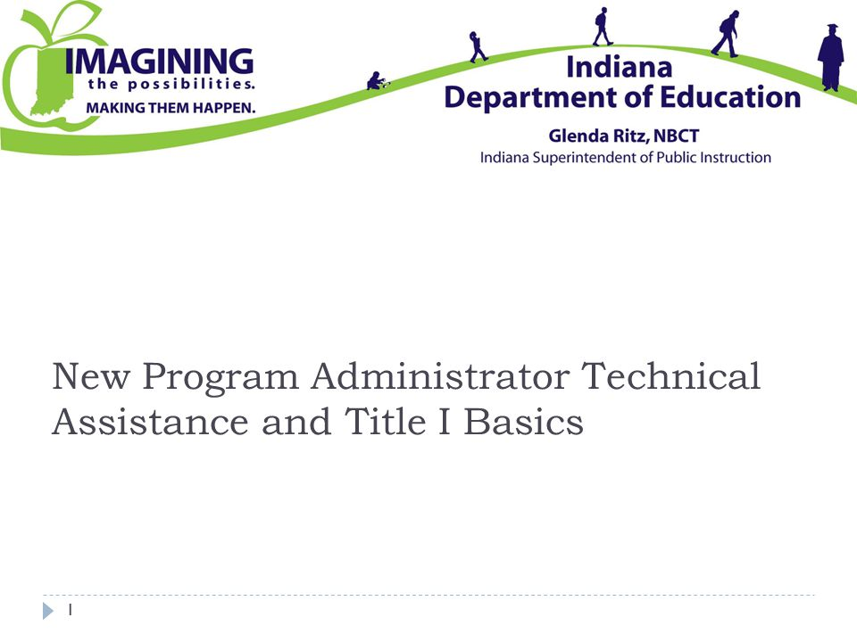 New Program Administrator Technical Assistance and Title I Basics 1
