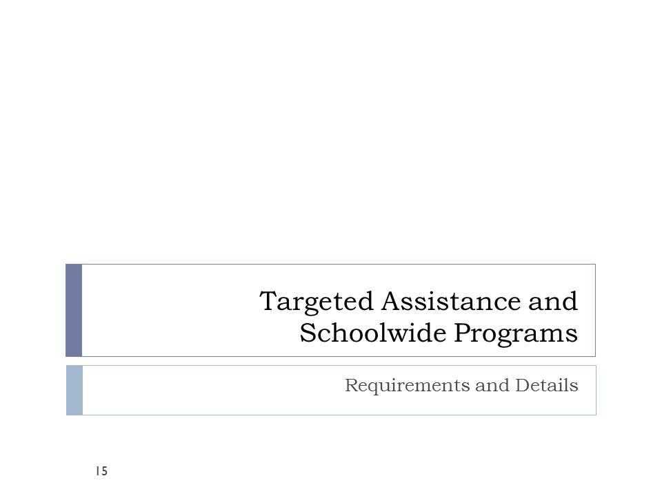 Targeted Assistance and Schoolwide Programs Requirements and Details 15