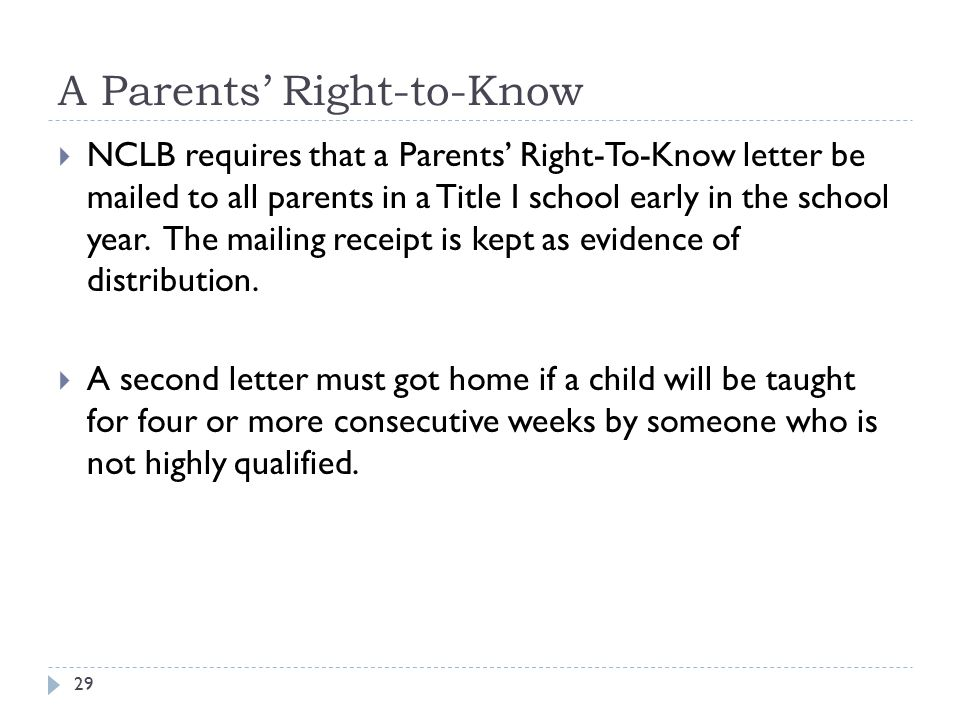 A Parents' Right-to-Know 29  NCLB requires that a Parents' Right-To-Know letter be mailed to all parents in a Title I school early in the school year