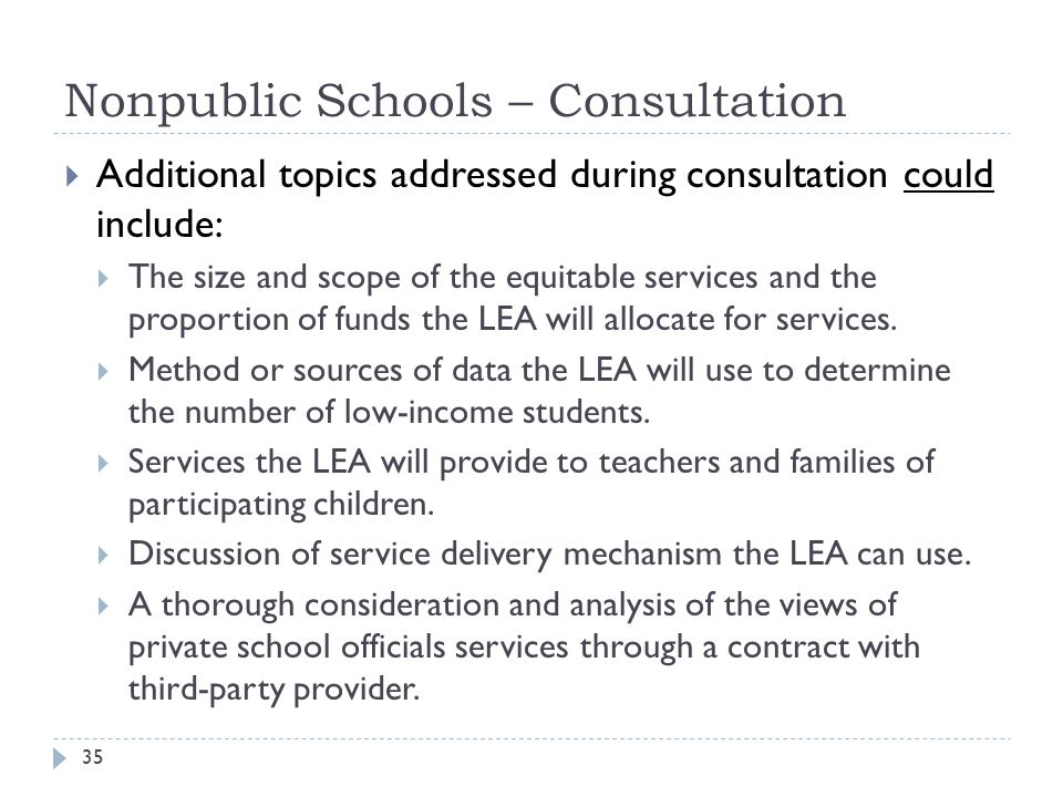Nonpublic Schools – Consultation 35  Additional topics addressed during consultation could include:  The size and scope of the equitable services an