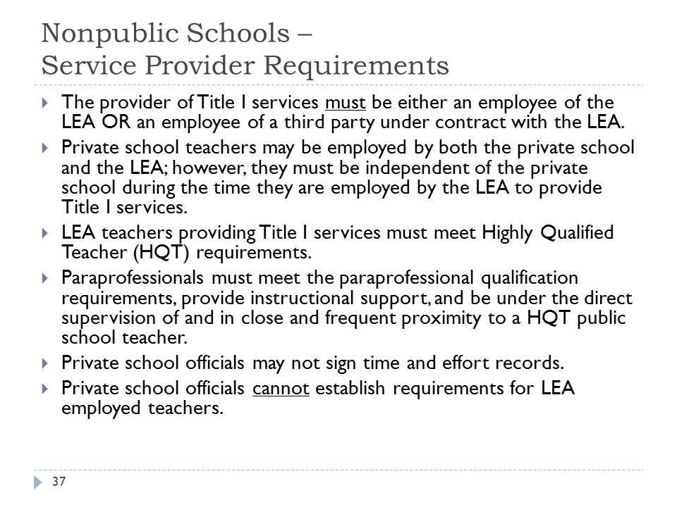 Nonpublic Schools – Service Provider Requirements 37  The provider of Title I services must be either an employee of the LEA OR an employee of a thir