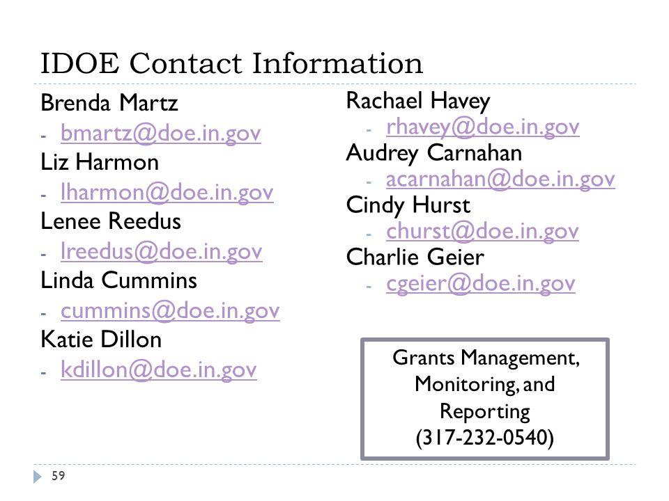 IDOE Contact Information 59 Brenda Martz - bmartz@doe.in.gov bmartz@doe.in.gov Liz Harmon - lharmon@doe.in.gov lharmon@doe.in.gov Lenee Reedus - lreedus@doe.in.gov lreedus@doe.in.gov Linda Cummins - cummins@doe.in.gov cummins@doe.in.gov Katie Dillon - kdillon@doe.in.gov kdillon@doe.in.gov Rachael Havey - rhavey@doe.in.gov rhavey@doe.in.gov Audrey Carnahan - acarnahan@doe.in.gov acarnahan@doe.in.gov Cindy Hurst - churst@doe.in.gov churst@doe.in.gov Charlie Geier - cgeier@doe.in.gov cgeier@doe.in.gov Grants Management, Monitoring, and Reporting (317-232-0540)