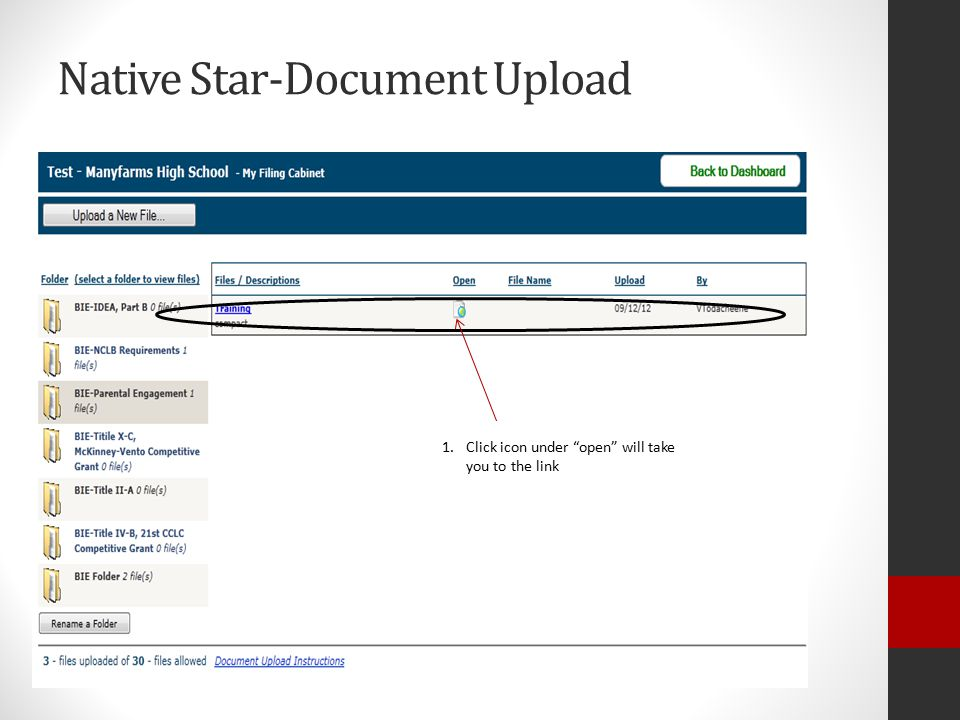 Native Star-Document Upload 1.Click icon under open will take you to the link