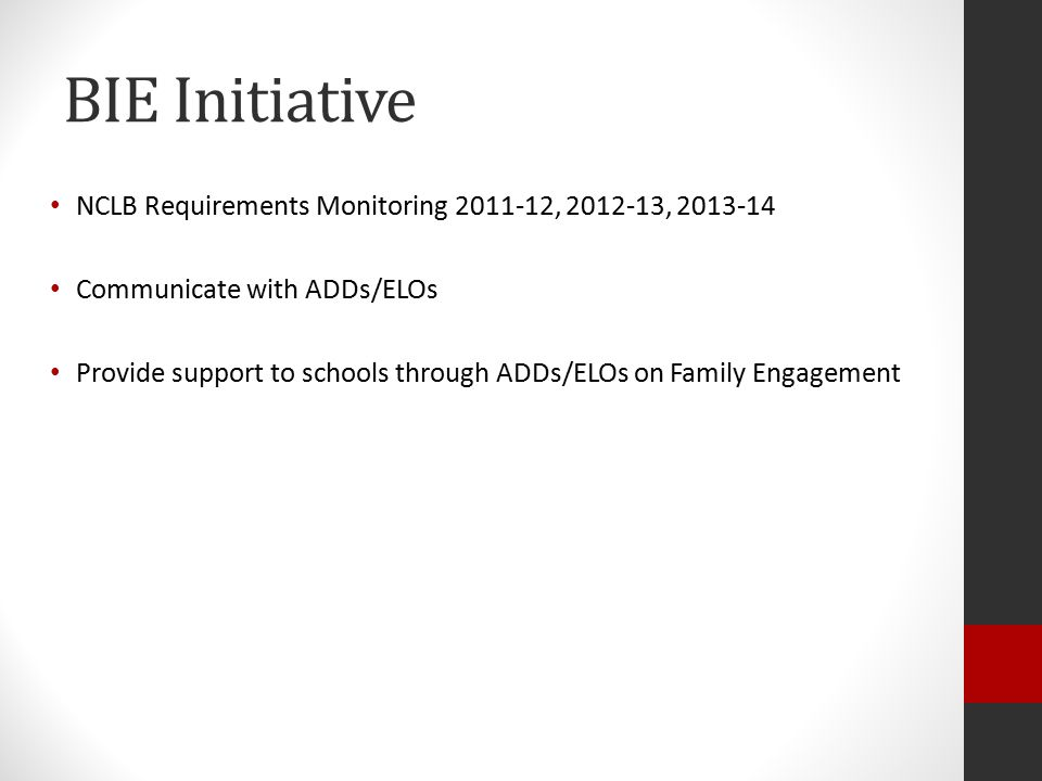 BIE Initiative NCLB Requirements Monitoring 2011-12, 2012-13, 2013-14 Communicate with ADDs/ELOs Provide support to schools through ADDs/ELOs on Family Engagement