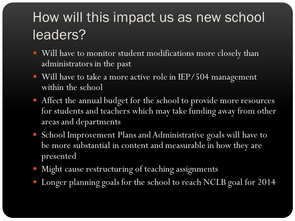 How will this impact us as new school leaders? Will have to monitor student modifications more closely than administrators in the past Will have to ta