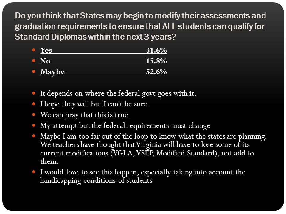 Do you think that States may begin to modify their assessments and graduation requirements to ensure that ALL students can qualify for Standard Diplom