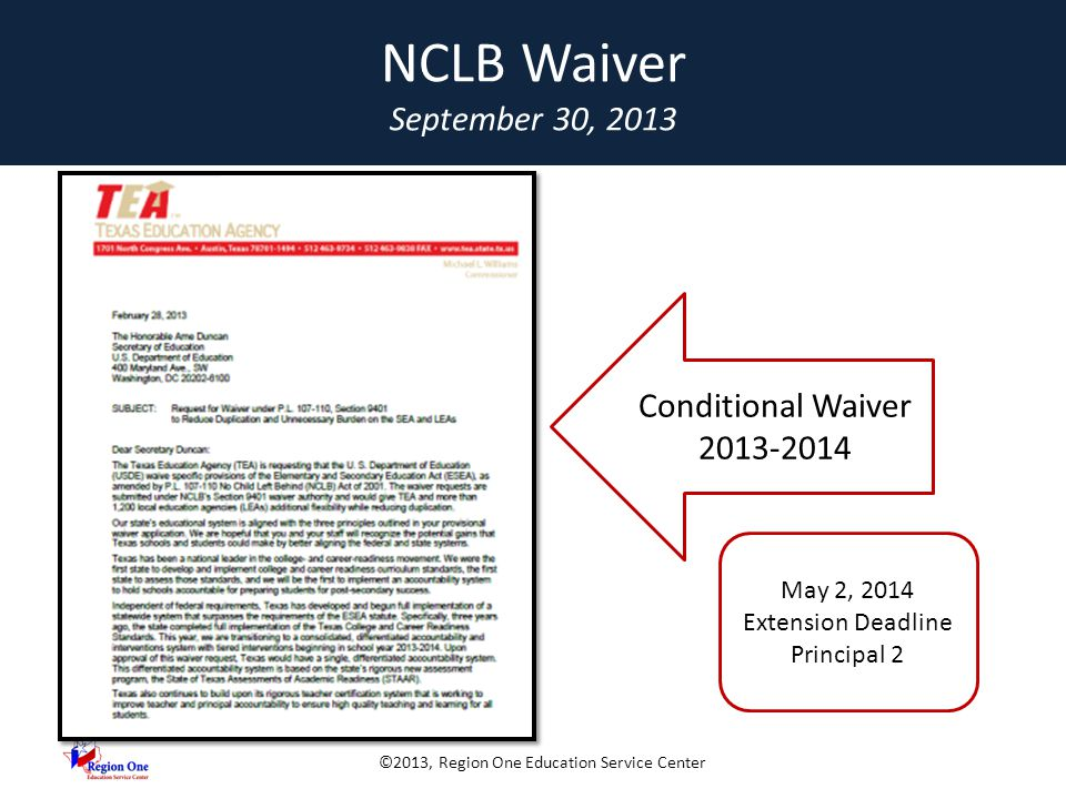 ©2013, Region One Education Service Center NCLB WAIVER 1.Three Principles 2.State Identification of Schools 3.Single Intervention System 4.Funding Flexibility