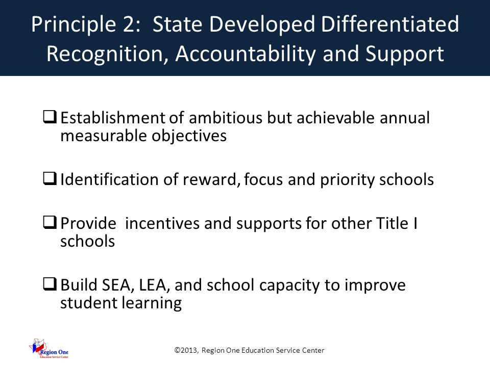 ©2013, Region One Education Service Center Achieving Annual Measurable Objectives 2013-2020