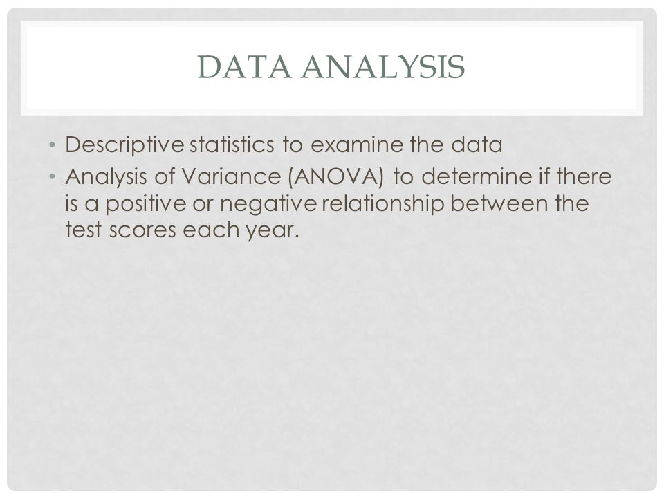 DATA ANALYSIS Descriptive statistics to examine the data Analysis of Variance (ANOVA) to determine if there is a positive or negative relationship bet