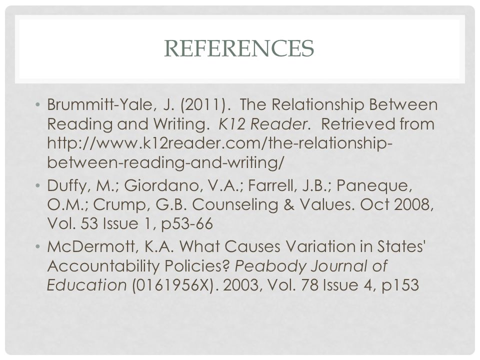 REFERENCES Brummitt-Yale, J. (2011). The Relationship Between Reading and Writing. K12 Reader. Retrieved from http://www.k12reader.com/the-relationshi