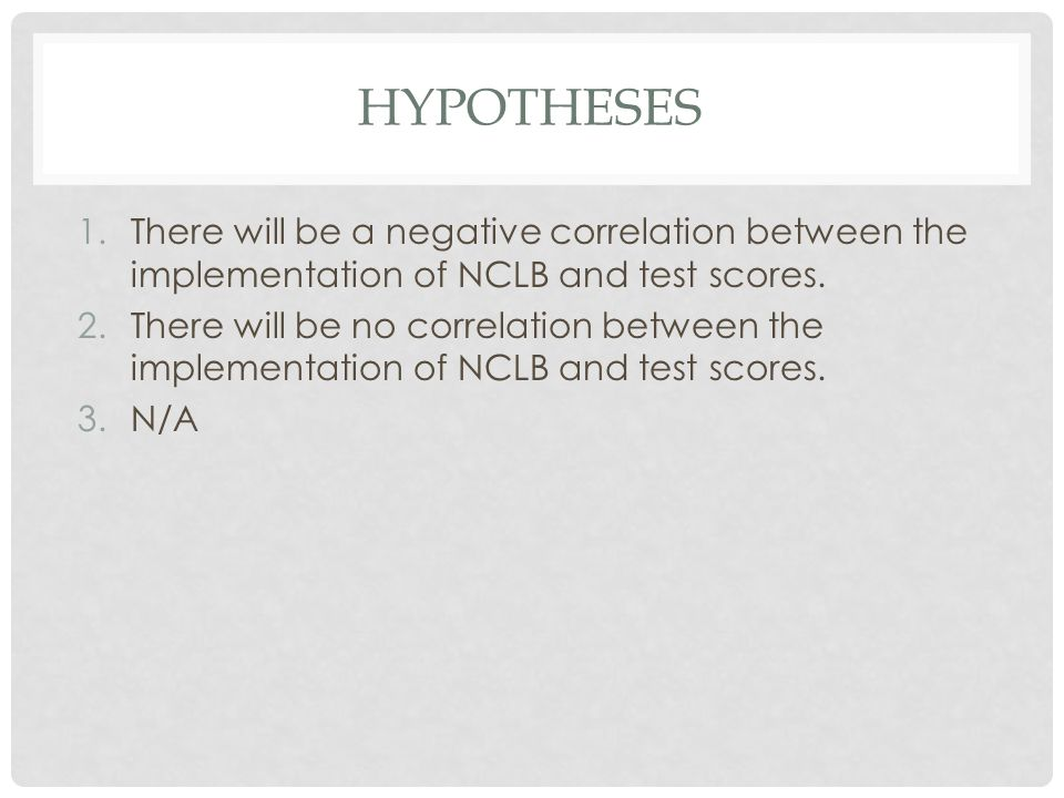 HYPOTHESES 1.There will be a negative correlation between the implementation of NCLB and test scores. 2.There will be no correlation between the imple