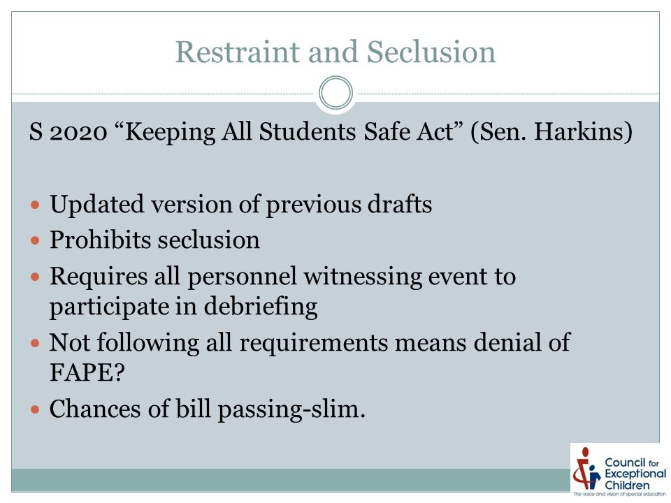Restraint and Seclusion S 2020 Keeping All Students Safe Act (Sen.