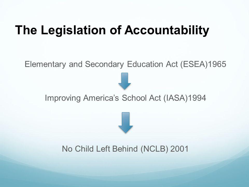 The Legislation of Accountability Elementary and Secondary Education Act (ESEA)1965 Improving America's School Act (IASA)1994 No Child Left Behind (NC