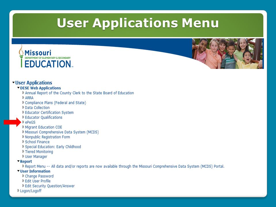 User Applications Menu 3
