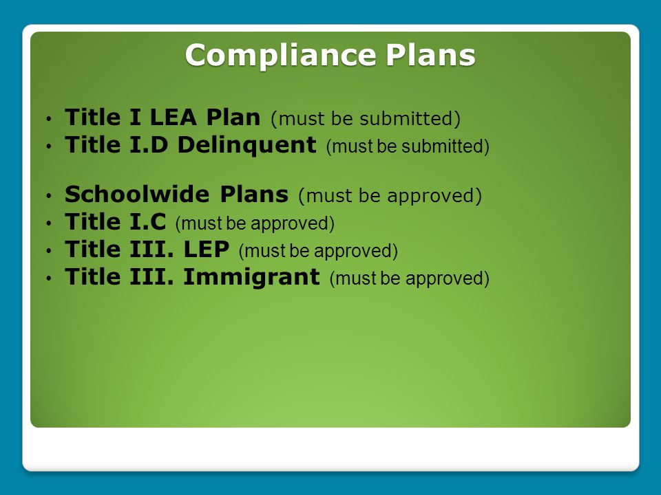Compliance Plans Title I LEA Plan (must be submitted) Title I.D Delinquent (must be submitted) Schoolwide Plans (must be approved) Title I.C (must be approved) Title III.