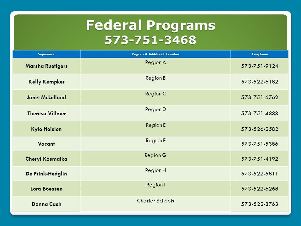 Federal Programs 573-751-3468 46 SupervisorRegions & Additional CountiesTelephone Marsha Ruettgers Region A 573-751-9124 Kelly Kempker Region B 573-52