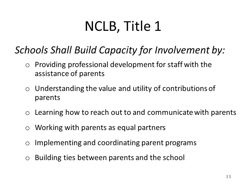 NCLB, Title 1 Schools Shall Build Capacity for Involvement by: o Providing professional development for staff with the assistance of parents o Underst