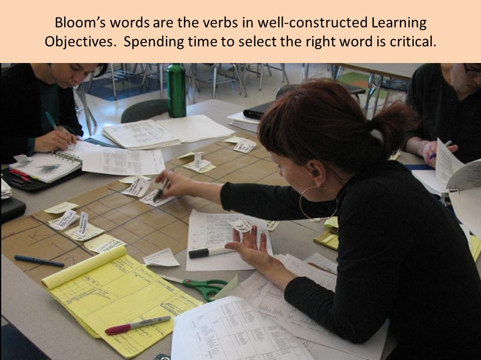 Bloom's words are the verbs in well-constructed Learning Objectives.