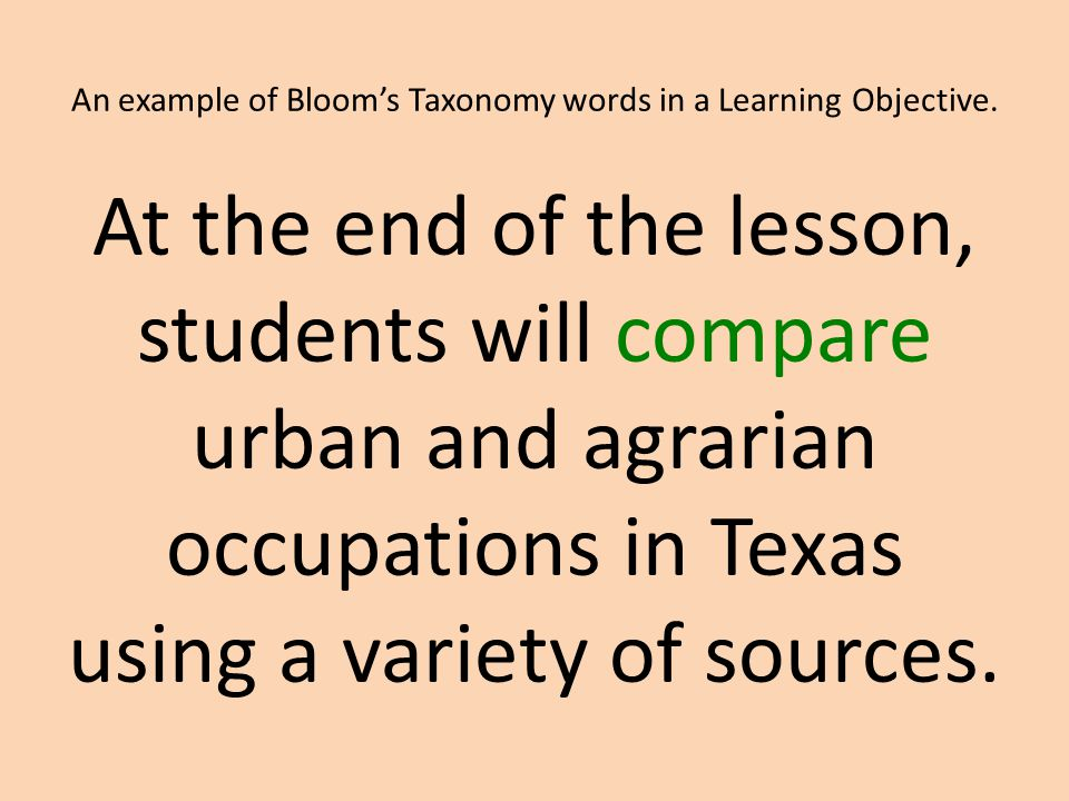 An example of Bloom's Taxonomy words in a Learning Objective.