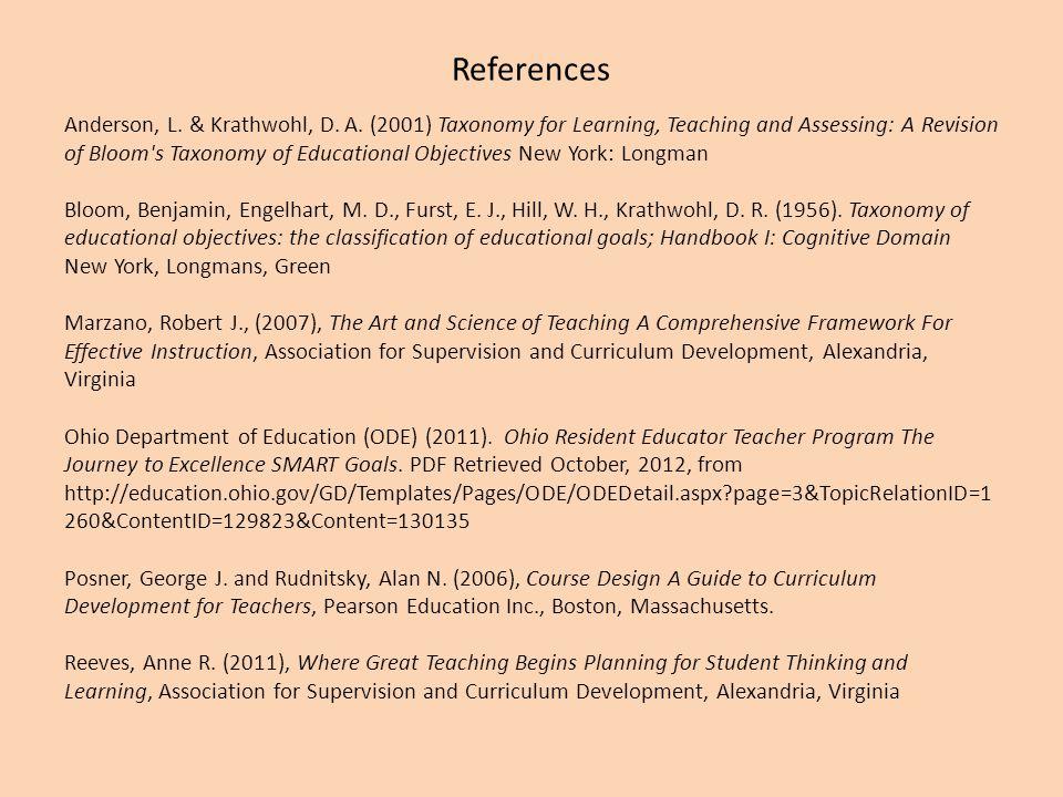 References Anderson, L. & Krathwohl, D. A.