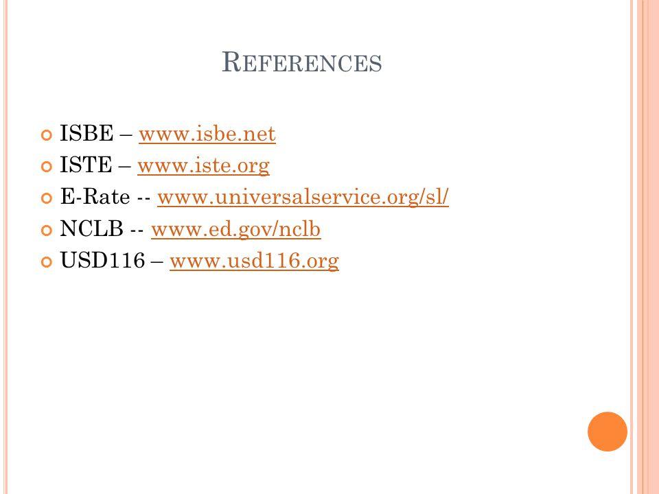 R EFERENCES ISBE – www.isbe.netwww.isbe.net ISTE – www.iste.orgwww.iste.org E-Rate -- www.universalservice.org/sl/www.universalservice.org/sl/ NCLB -- www.ed.gov/nclbwww.ed.gov/nclb USD116 – www.usd116.orgwww.usd116.org