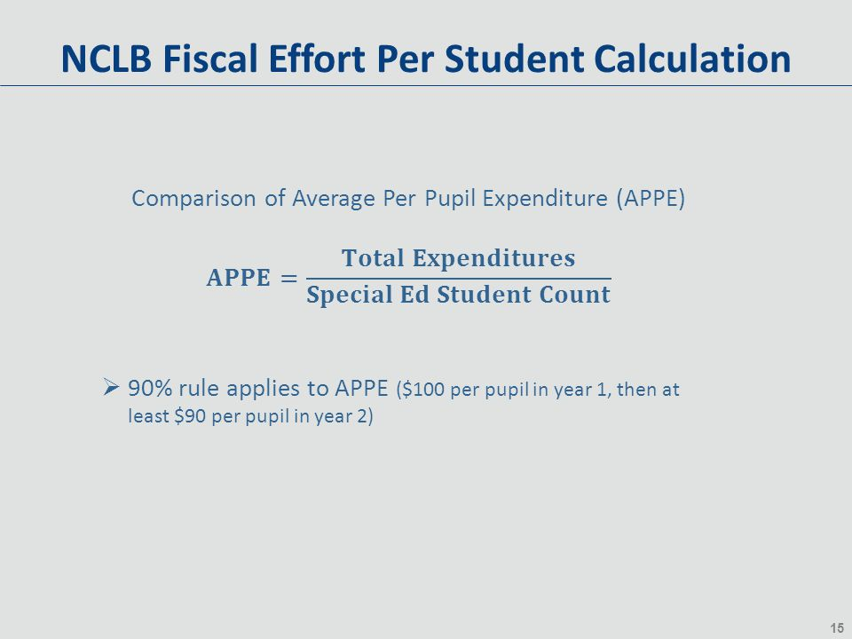 15 NCLB Fiscal Effort Per Student Calculation