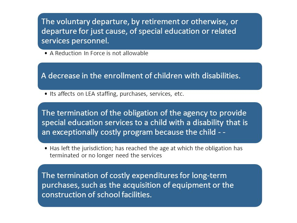 The voluntary departure, by retirement or otherwise, or departure for just cause, of special education or related services personnel.