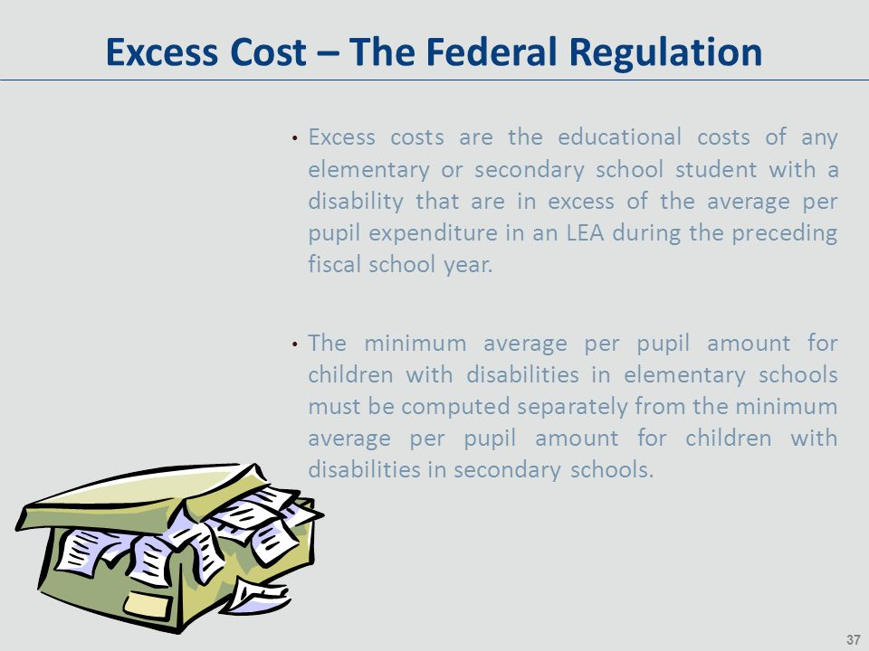 37 Excess Cost – The Federal Regulation Excess costs are the educational costs of any elementary or secondary school student with a disability that ar