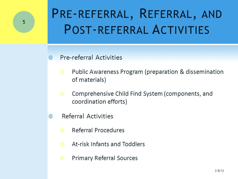 P RE - REFERRAL, R EFERRAL, AND P OST - REFERRAL A CTIVITIES  Pre-referral Activities  Public Awareness Program (preparation & dissemination of materials)  Comprehensive Child Find System (components, and coordination efforts)  Referral Activities  Referral Procedures  At-risk Infants and Toddlers  Primary Referral Sources 2/8/12 5