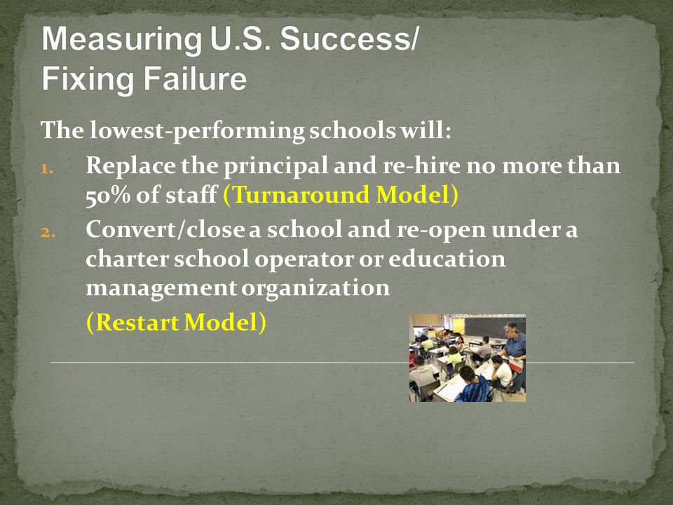 The lowest-performing schools will: 1.