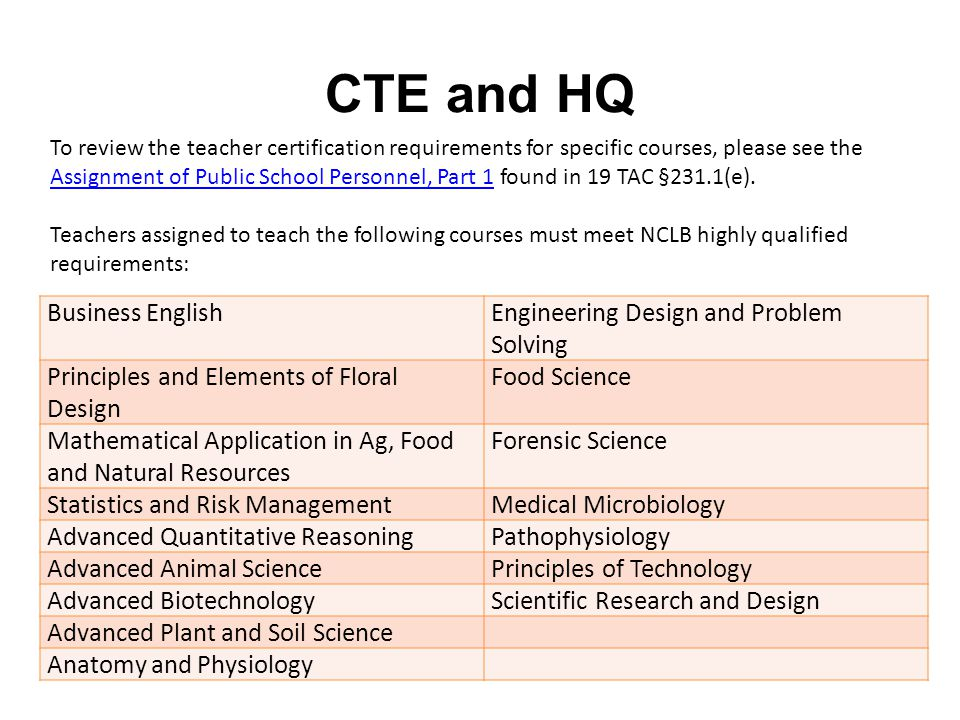 CTE and HQ To review the teacher certification requirements for specific courses, please see the Assignment of Public School Personnel, Part 1 found in 19 TAC §231.1(e).