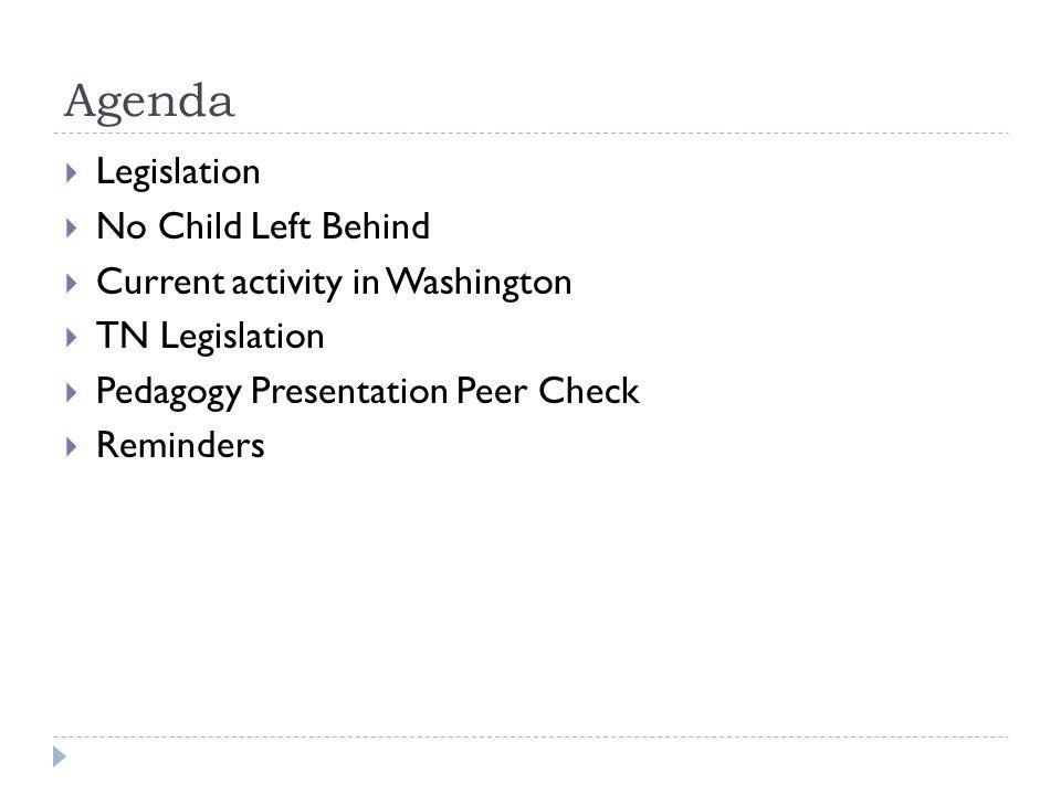 Agenda  Legislation  No Child Left Behind  Current activity in Washington  TN Legislation  Pedagogy Presentation Peer Check  Reminders