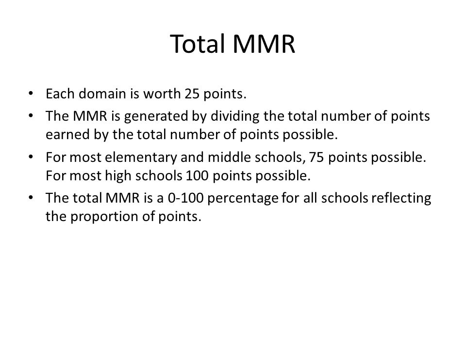 Total MMR Each domain is worth 25 points.