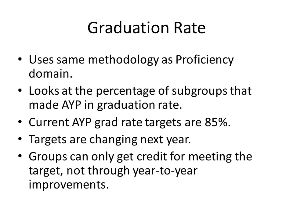 Graduation Rate Uses same methodology as Proficiency domain.