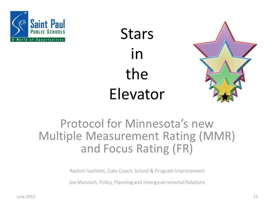 Stars in the Elevator Protocol for Minnesota's new Multiple Measurement Rating (MMR) and Focus Rating (FR) Rashmi Vashisht, Data Coach, School & Program Improvement Joe Munnich, Policy, Planning and Intergovernmental Relations June 201223