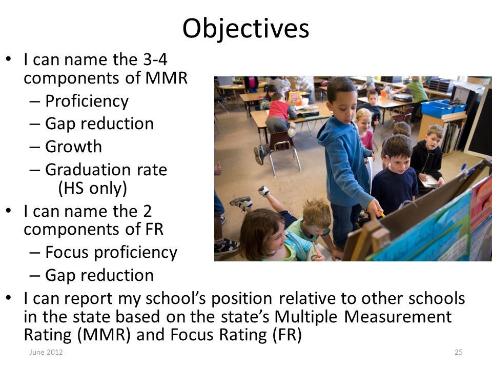 Objectives I can name the 3-4 components of MMR – Proficiency – Gap reduction – Growth – Graduation rate (HS only) I can name the 2 components of FR – Focus proficiency – Gap reduction I can report my school's position relative to other schools in the state based on the state's Multiple Measurement Rating (MMR) and Focus Rating (FR) June 201225