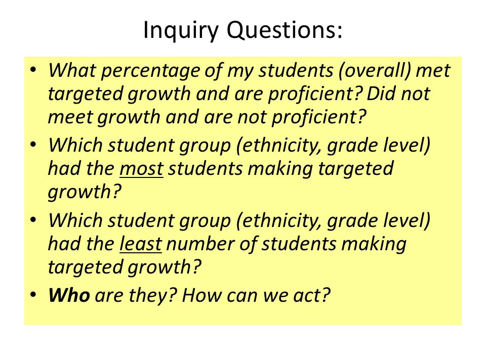 Inquiry Questions: What percentage of my students (overall) met targeted growth and are proficient.