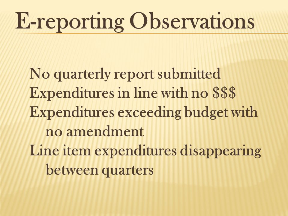 E-reporting Observations No quarterly report submitted Expenditures in line with no $$$ Expenditures exceeding budget with no amendment Line item expe