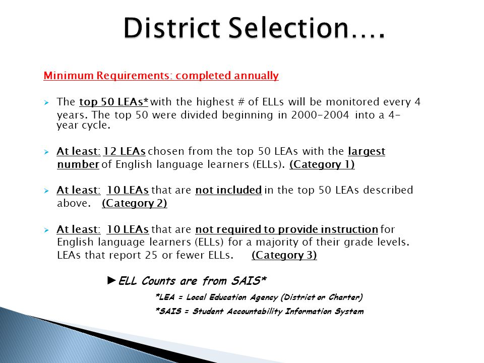  ELL Student File Review  Initial and annual English language proficiency assessments  Individualized Language Learner Plan (ILLP ) (if applicable)  Annual Parent Notification of student proficiency level and program placement  Waiver Documentation (if applicable)  Parent Withdrawal form (if applicable)  Reclassification Notification (from LEP* to FEP*)  English Language Learner After Reclassification (ELLAR) form (if applicable)  2-Year Monitoring Form  WICP* *LEP = Limited English Proficient *FEP = Fluent English Proficient *WICP = Written Individualized Compensatory Plan