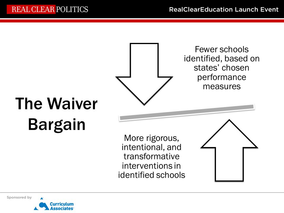 The Waiver Bargain Fewer schools identified, based on states' chosen performance measures More rigorous, intentional, and transformative interventions in identified schools