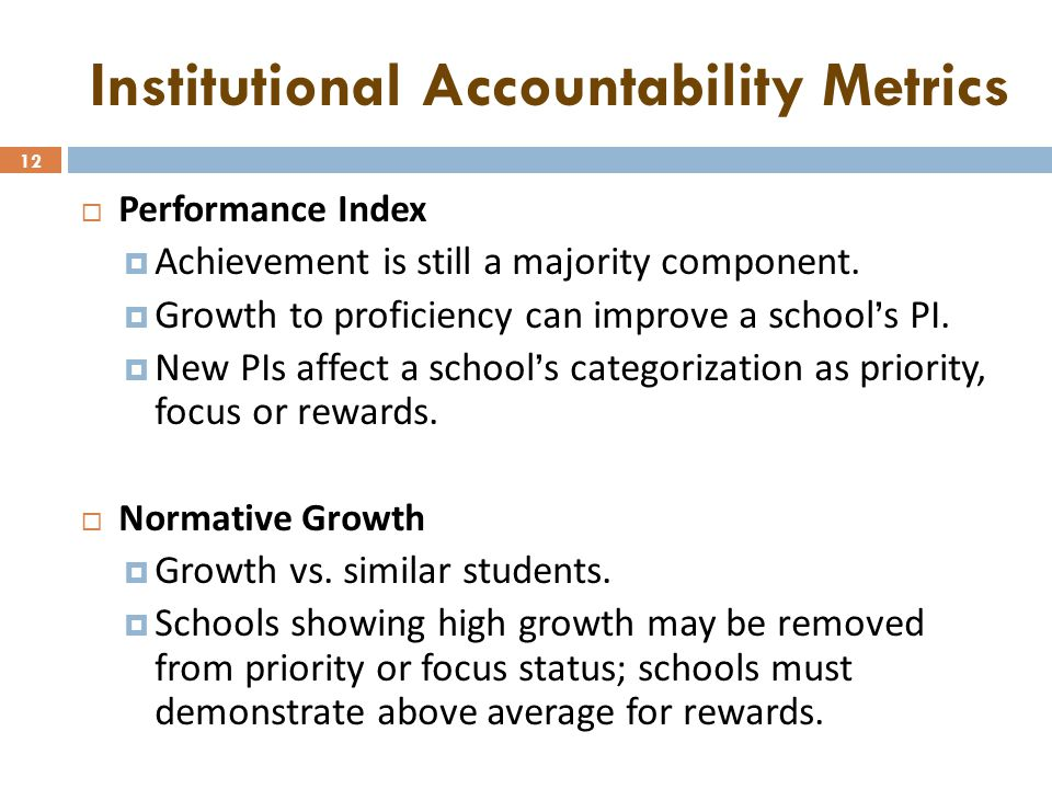 12 Institutional Accountability Metrics  Performance Index  Achievement is still a majority component.